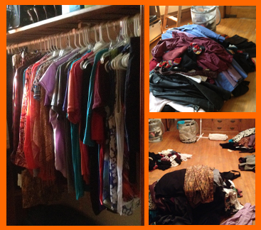 finished closet (left), clothes pile (top right), sorting (bottom right)